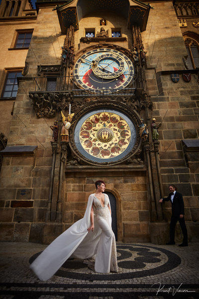 Sherri and the Berta wedding dress Prague Anniversary