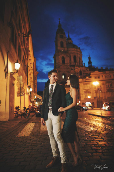 The happily engaged Prague engagement night photo