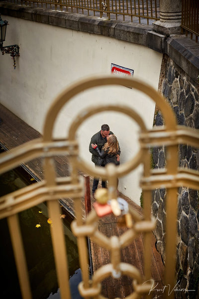kissing at Prague Venice - marriage proposal