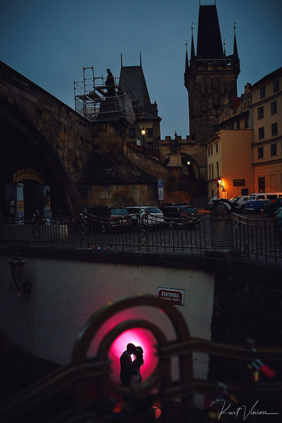 illuminated by the red light Prague night photos