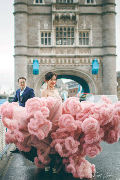 Tower Bridge Pink Wedding Dress