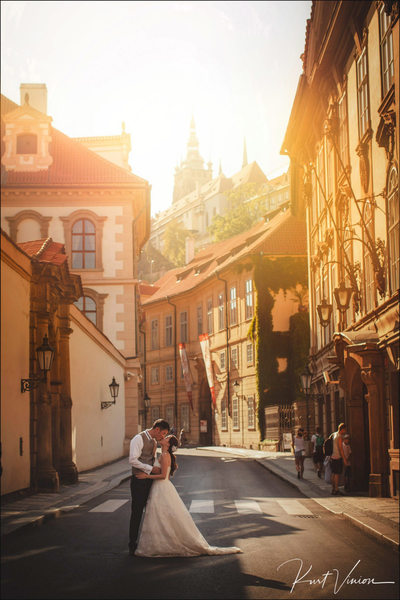 Golden Hour Kiss for the bride2be in Mala Strana