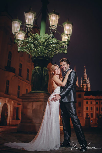 Wedded couple Prague Castle night portrait