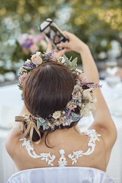 The gorgeous bridal hair piece & selfie
