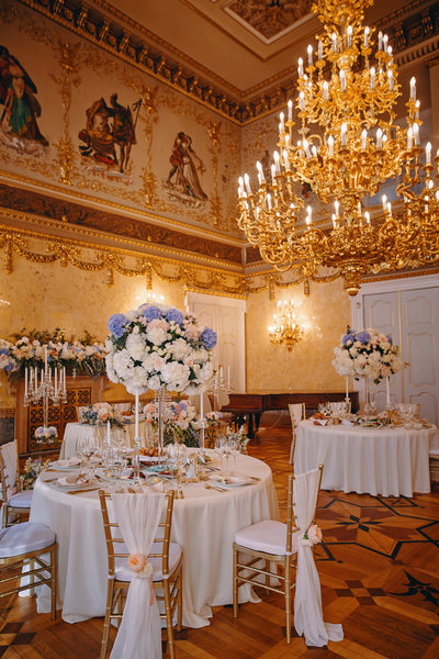 The table set up and design at the Kaunicky Palace