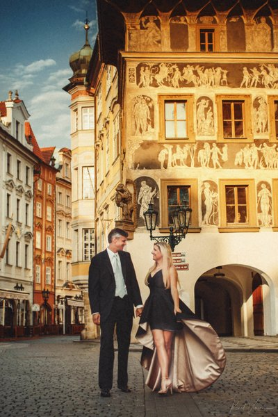 Gorgeous couple wedding anniversary Golden Light Prague