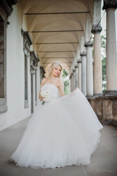 Radiant bride at Queen Anne's Summer Palace in Prague