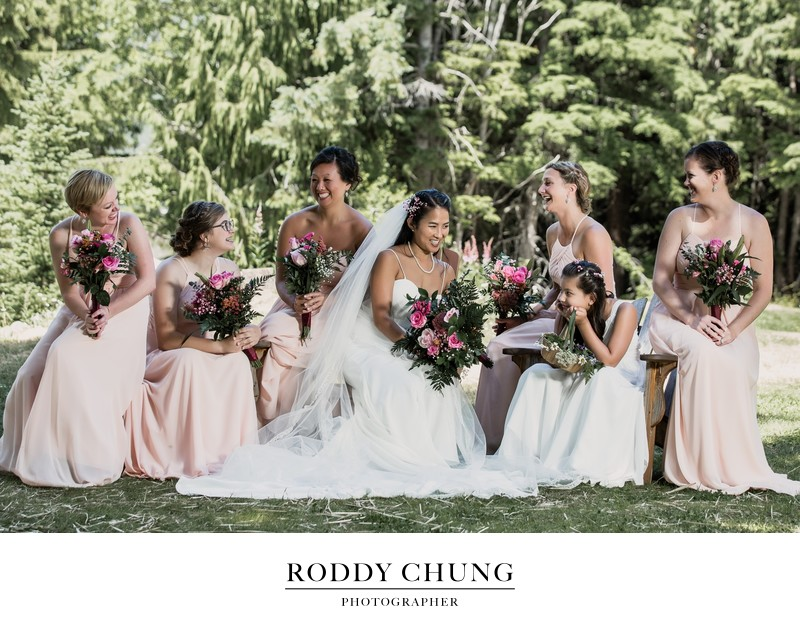 Elegant wedding party at Crystal Mountain