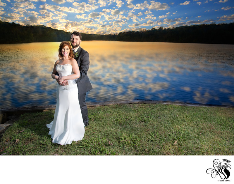 Bride and Groom Sunset Photo at Bella Collina Mansion