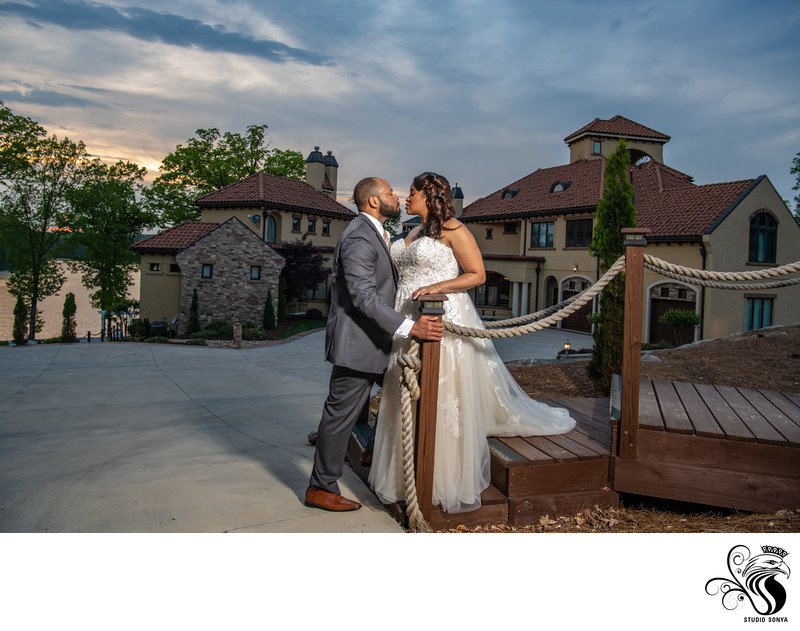 Bride and Groom at the Bella Collina Mansion