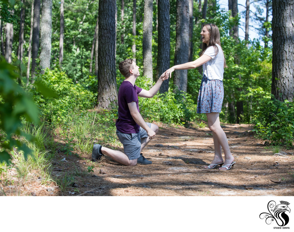 Engaged Couple at Historic Yates Mill County Park