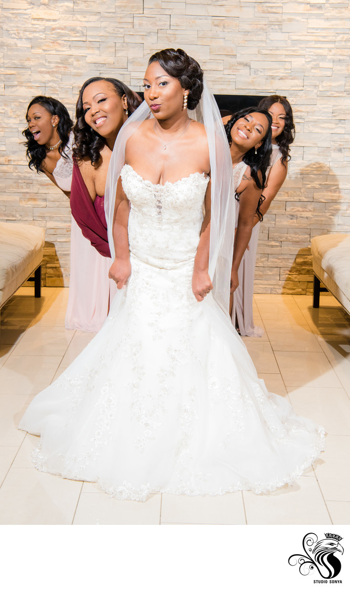 Bride and Bridesmaids at Greensboro Marriott Downtown