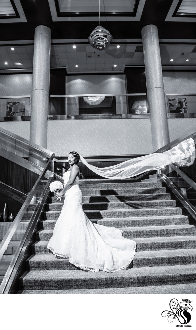 Bride on Grand Staircase, Greensboro Marriott Downtown