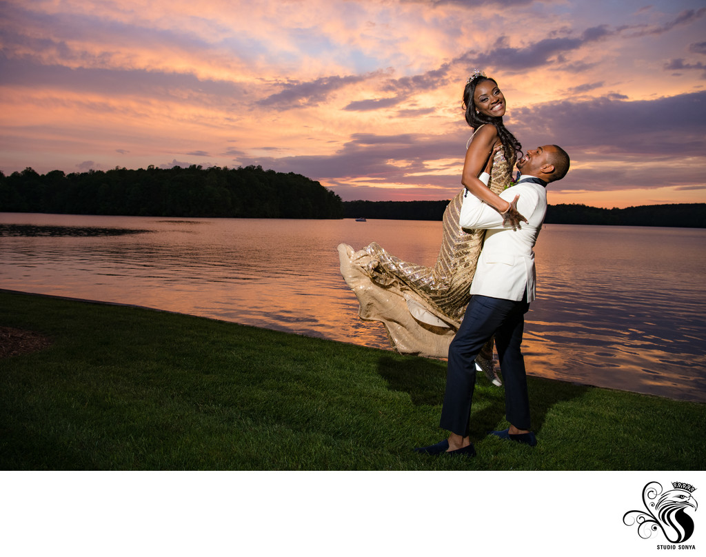Bride and Groom enjoying a glorious NC sunset
