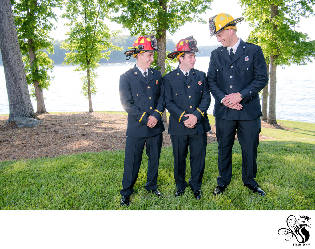 Groom and Firefighter Buddies