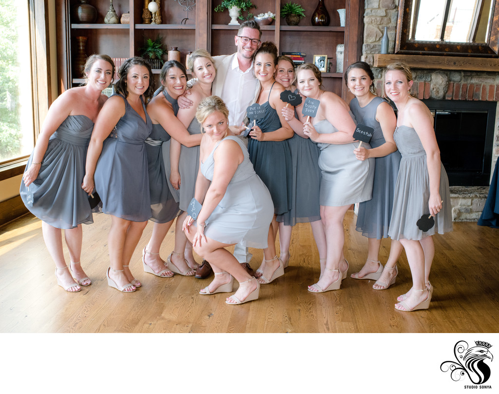 Groom with Bridesmaids in Stokesdale, NC