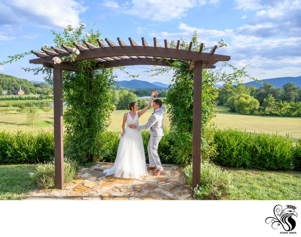 Groom twirls his wife in Afton, Virginia