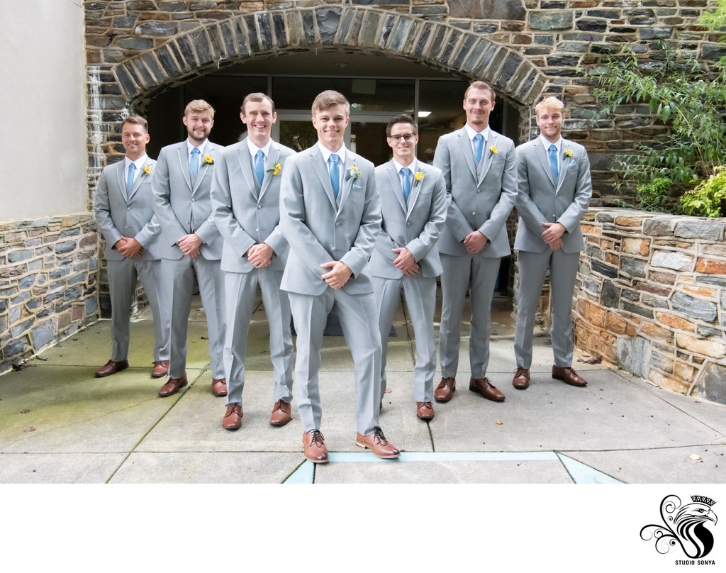 Groom and Groomsmen in archway