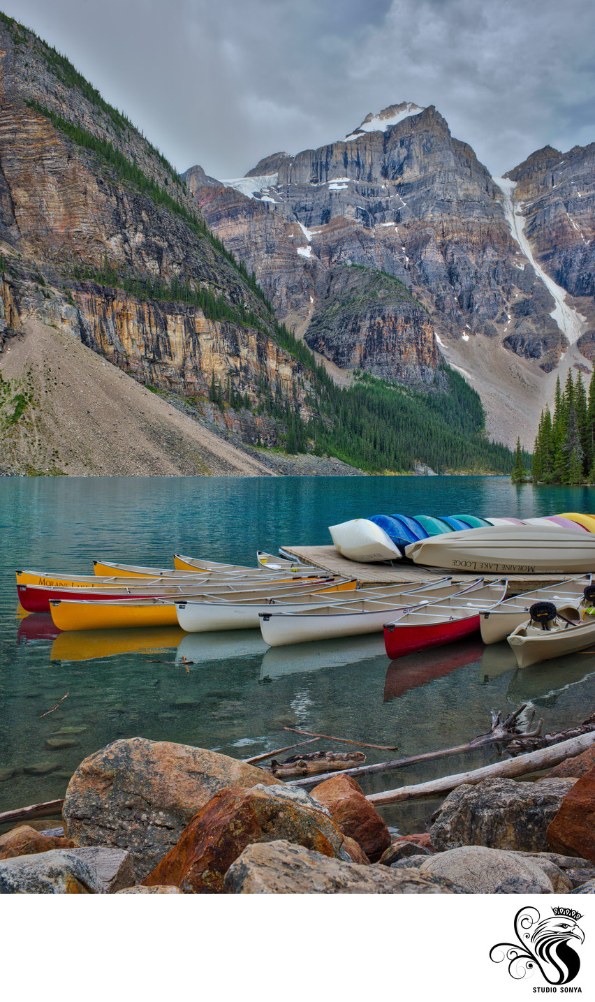 Canoes Resting on the Dock at Moraine Lake