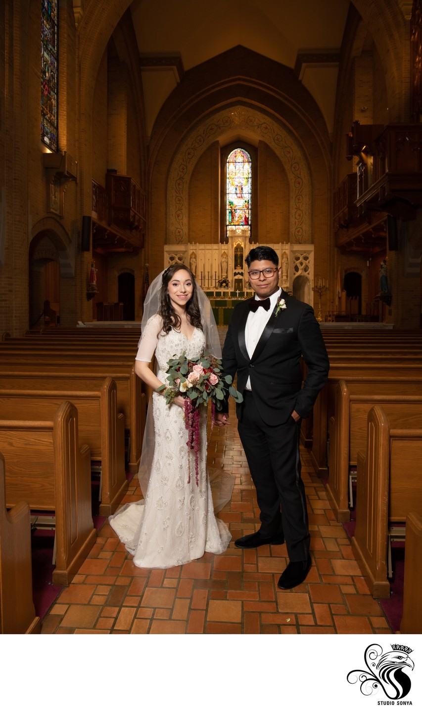 Bride and Groom at Our Lady of Grace Catholic Church in Greensboro