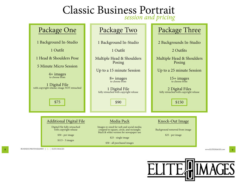 Dubuque Business Portrait Pricing