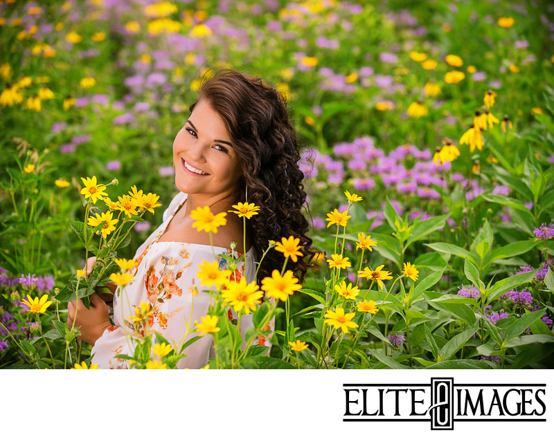 Senior Pictures in Field of Flowers Dubuque
