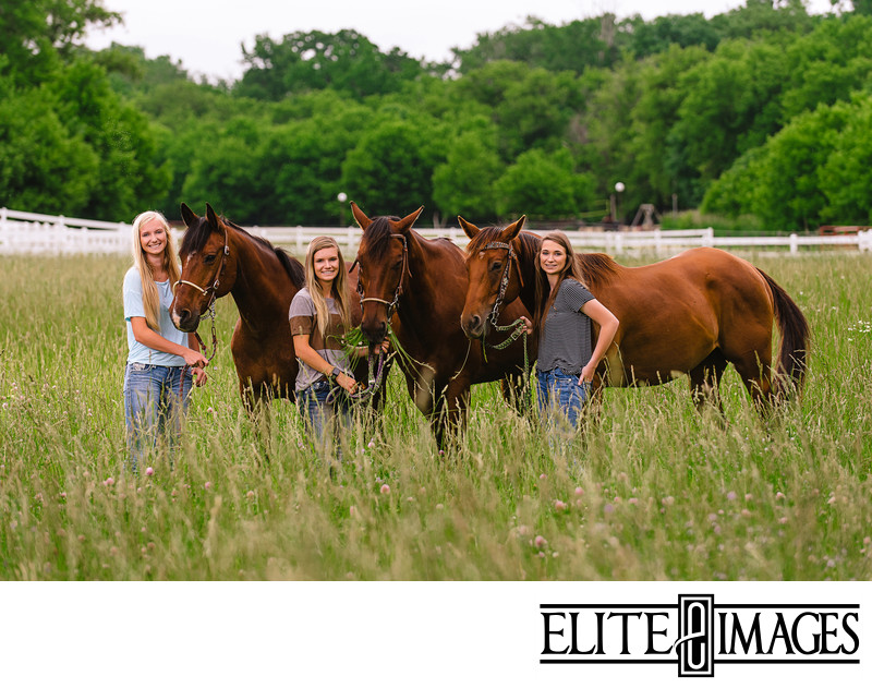 Senior Portrait Photoshoot with Horses near Dubuque