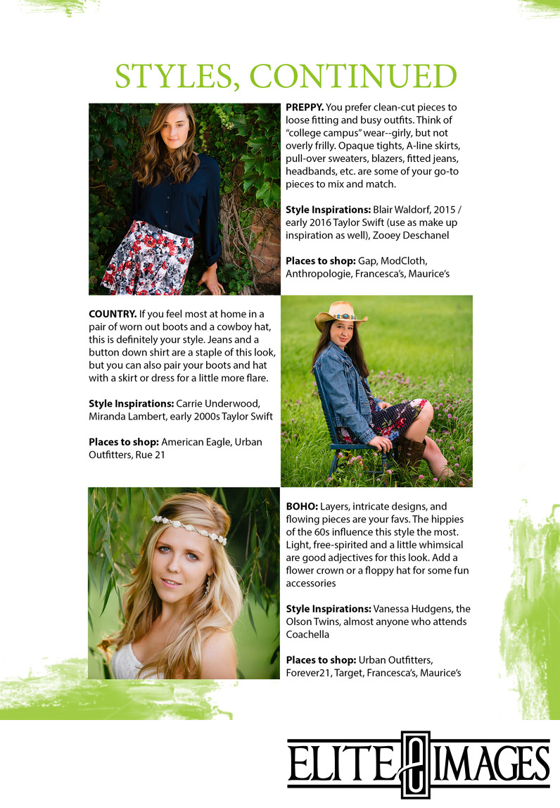 Girls - What to Wear for Senior Portraits Styles continued