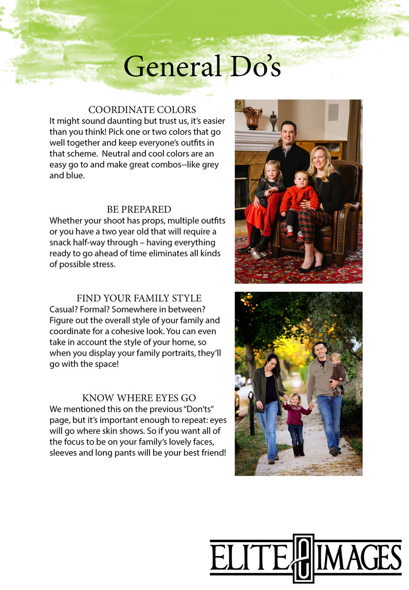 What to Wear for Family Portraits - Do's