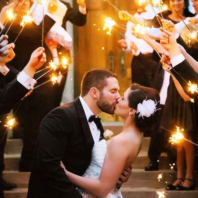 Wedding Pictures in Dubuque with Sparklers