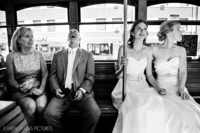 Columbus Wedding Photography on a Trolley