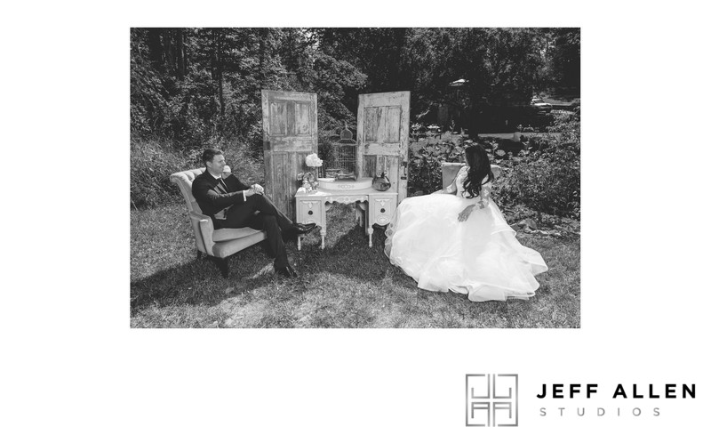 Wedding Album Spread - Brookmill Farm - Relaxing in B&W
