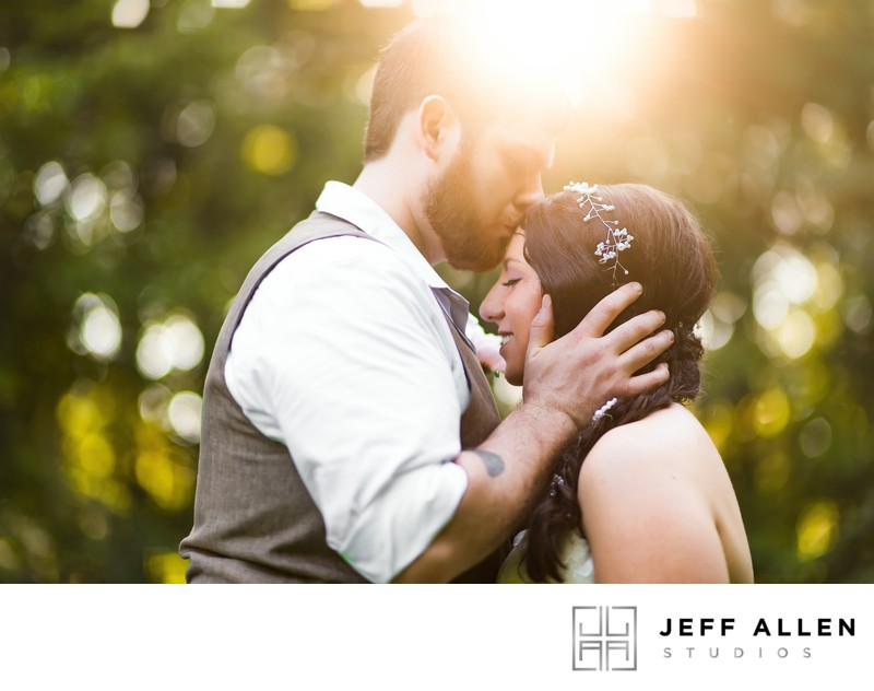 Groom Kisses Bride on Forehead While Sun Kisses Both