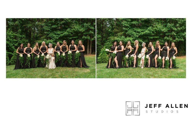 THE BRIDE AND HER BRIDESMAIDS SHOWING A LITTLE LEG