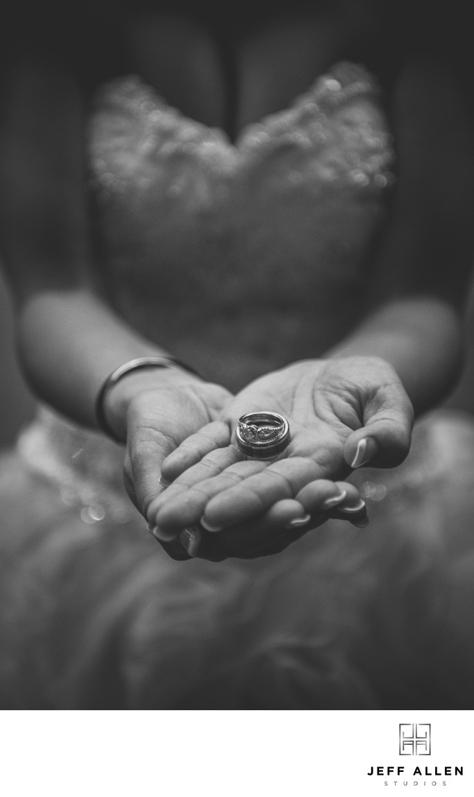 Bride and the Wedding Rings on Her Wedding Day
