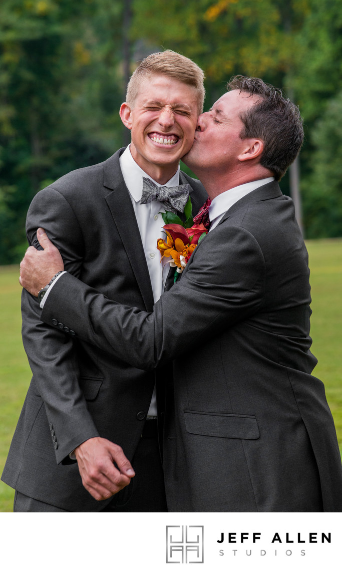 Groomsman Plants Huge Kiss on Groom Before Ceremony
