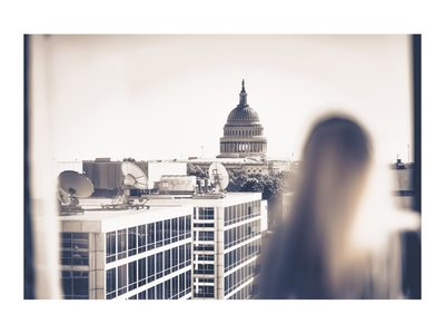 WASHINGTON COURT HOTEL- BRIDE LOOKING OUT AT CAPITOL