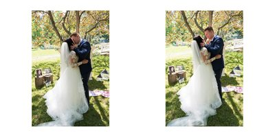 Wedding Album Spread - Brookmill Farm - First Kiss