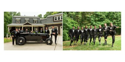 GROOMSMEN LOOKING THEIR BEST WITH VINTAGE CAR