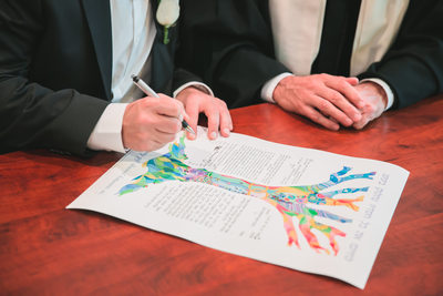 JEWISH WEDDING CEREMONY KETUBAH SIGNING