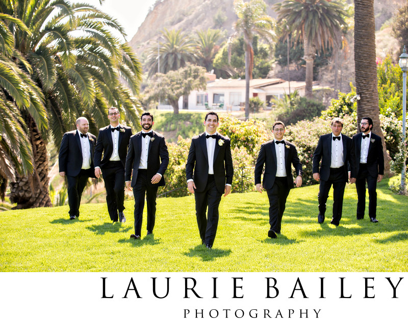 Bel Air Bay Club Wedding Groomsmen Walking