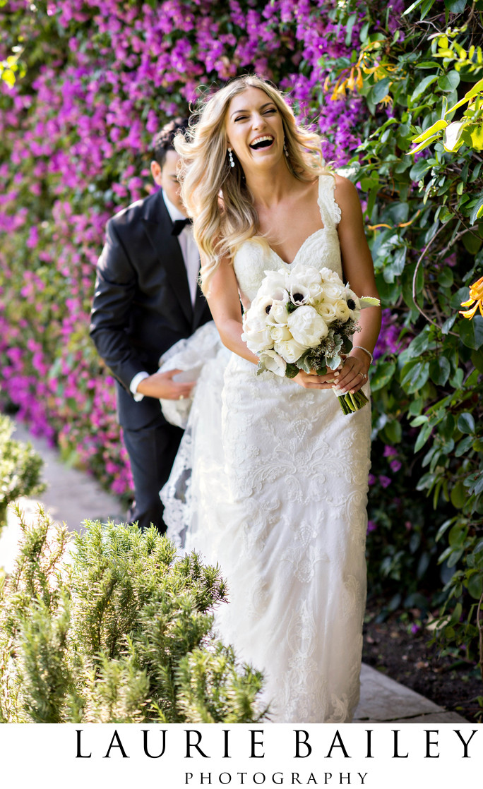 Bel Air Bay Club Wedding Bride Laughing Flowers
