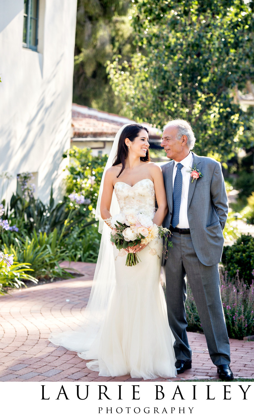Bride and Father at a Destination Wedding