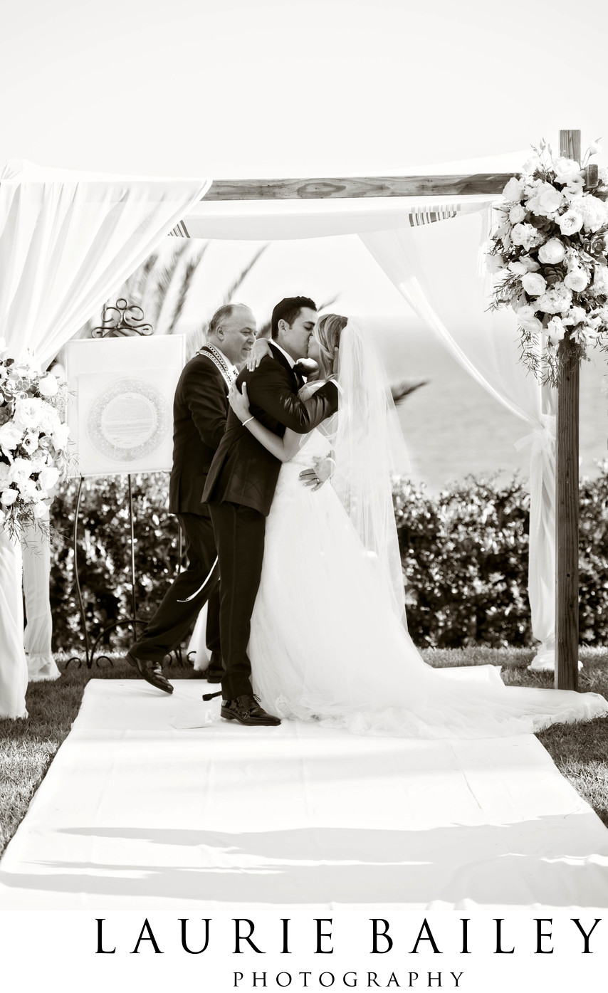 Bel Air Bay Club Jewish Wedding Kiss Chuppah