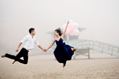 Fun Engagement Photographer Beach Location Los Angeles