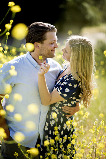 Engagement Photos Yellow Flowers