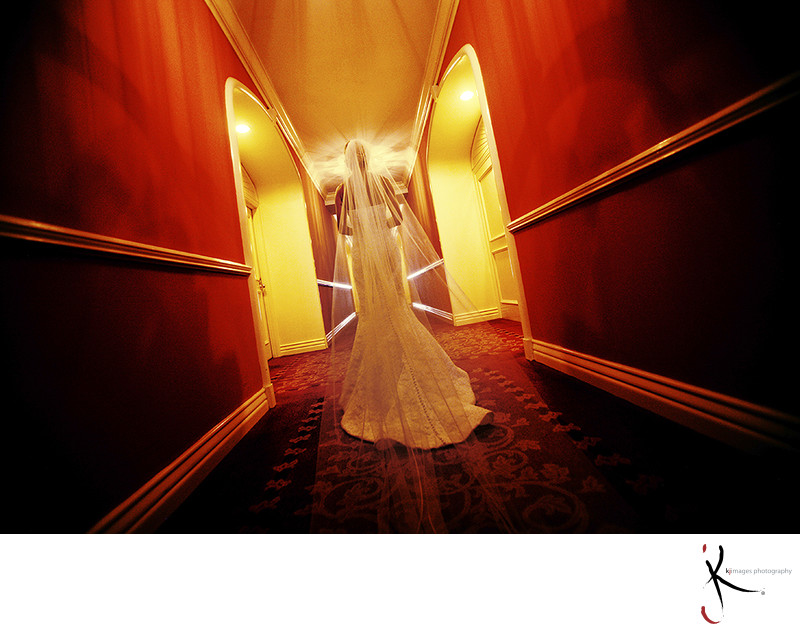 ​Bride in hallway at the Mansion on Turtle Creek.