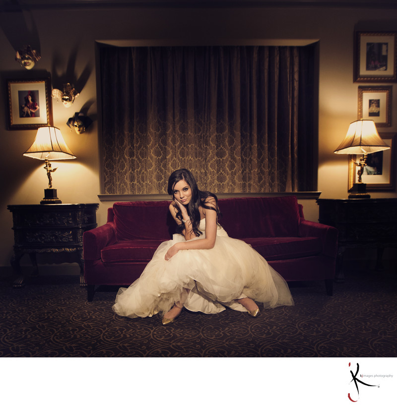 Bride on a couch at Hotel Zaza Dallas