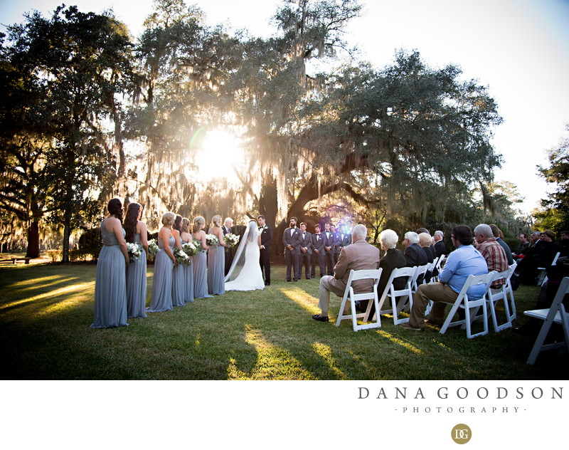 Afternoon glow of a Pebble Hill Plantation wedding