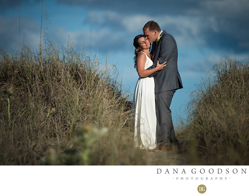 Amelia Island Wedding with beautiful blue skies in the dunes